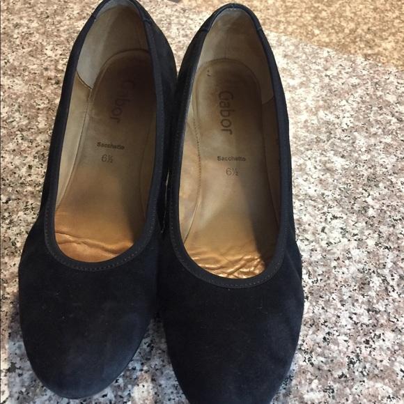 Gabor Shoes | Black Wedge Suede | Poshmark